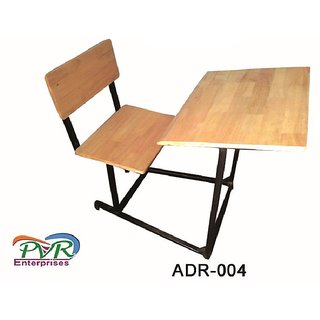 Rubber wood attached bench desk study table for higher class