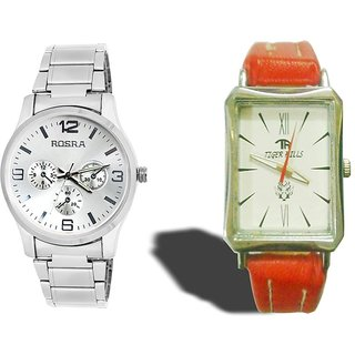 Rosra Round Dial White  Metal Strap Mens And Tigerhills  Combo Pack Model-224175