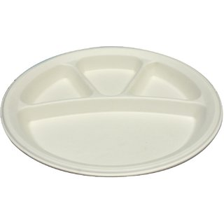 EZEE NATURAL FIBRE 4 COMPARTMENT BAGASSE ROUND PLATE 10PCS (PACK OF 5)