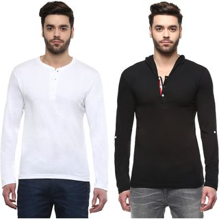 TSX Men's Multicolor Henley T-Shirt (Pack of 2)