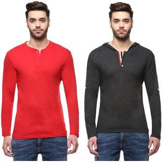 TSX Men's Multicolor Henley T-Shirt (Pack of 2)