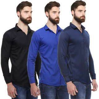 Red Code Pack of 3 Men's  Slim Fit Casual Poly-Cotton Shirt