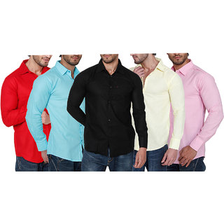 Balino London Pack of 5 Slim Fit Poly-Cotton Shirts For Men