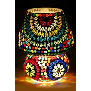 Buy very beautiful electric multicolor night table lamp 100 very beautiful electric multicolor night table lamp 100 handmade leaf mosaic design for home dcor mozeypictures Images