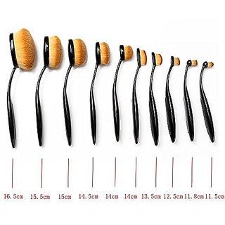 2cfd8be98bb3 Neverland Beauty 10 Pcs Tooth Brush Shape Oval Makeup Brushes Foundation  Contour Powder Eyebrow Blush Eyeshadow Brush Set