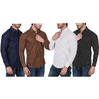 Black Bee Pack of 4 Printed Poly-Cotton Shirts For Men