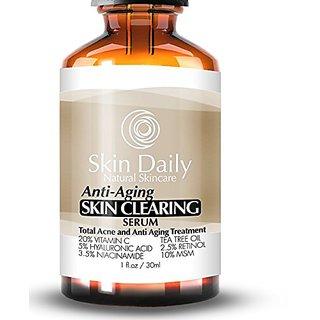 Skin Daily Anti Aging Skin Clearing Serum + 20% Vitamin C, Tea Tree Oil,  Niacinamide, Retinol, Salicylic Acid and MSM | Premium Moisturizer, Clears