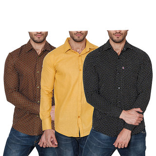 Balino London Pack of 3 Printed Poly-Cotton Shirts For Men