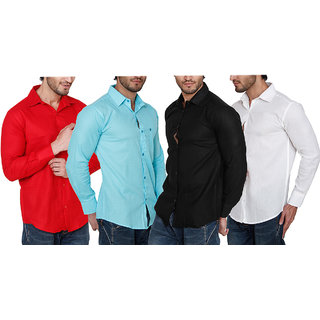 Balino London Pack of 4 Slim Fit Poly-Cotton Shirts For Men