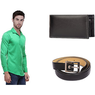 Balino London Combo Of Solid Casual Poly-Cotton Shirt  Belt  Wallet Muticolor