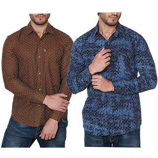 Black Bee Pack of 2 Printed Poly-Cotton Shirts For Men