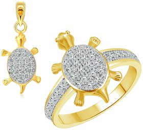 Vighnaharta Golden Micro Tortoise Ring with Pendant CZ Gold and Rhodium Plated Alloy Ring Set for Women and Girls