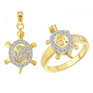 Vighnaharta Om Tortoise Ring with Pendant CZ Gold and Rhodium Plated Alloy Ring Set for Women and Girls