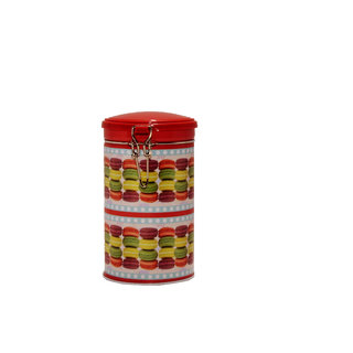 6th Dimensions Coffee Storage Tin Box With Lid Deco Clips Assorted Colour Cookies Multi Printed