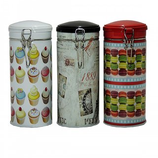 6th Dimensions Coffee Storage Tin Box With Lid Deco Clips Paris Multi Printed (Set of 3)