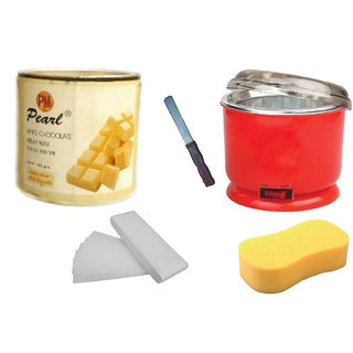 DDH WhiteChoclate Wax + 90 Wax Strips Pack + Wax Auto Cut Heater + Sponge and Free Knife