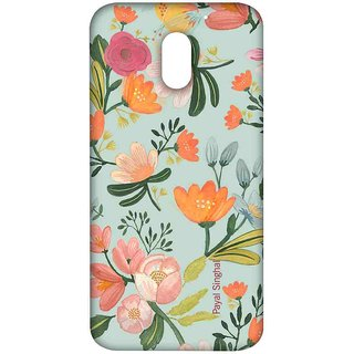 Payal Singhal Aqua Handpainted Flower - Sublime Case For Moto E3