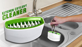 Cutlery Clean'R Utensil Scrubber Sink Brush Cleaner Green