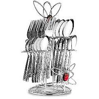 Pogo Myra Stainless Steel Cutlery Set With Stand 25 Pcs