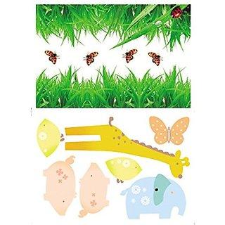 Damara Grass Giraffe Butterfly Wall Stickers Children Schoolroom Decor