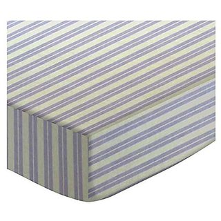 SheetWorld Fitted Stroller Bassinet Sheet - Lavender Dual Stripe - Made In USA