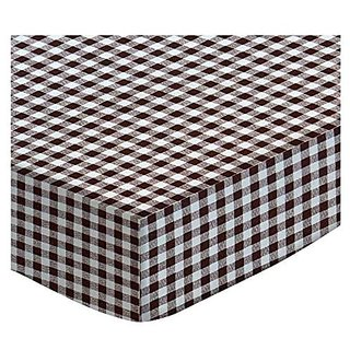 SheetWorld Fitted Stroller Bassinet Sheet - Brown Gingham Check - Made In USA