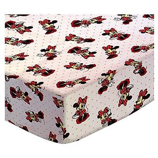 SheetWorld Fitted Stroller Bassinet Sheet - Minnie Mouse Pink - Made In USA