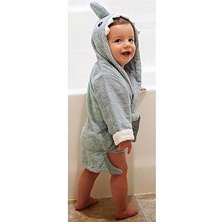 Baby-Steps, Blue Shark Hooded Bathrobe and Towel, 0-12 Months, Bath Robe Baby Shower Gift. Free Gift Box with Purchase!