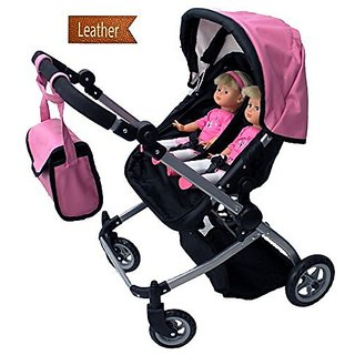 Babyboo Luxury Leather Look Twin Doll Pram/Stroller with Free Carriage (Multi Function View All Phot
