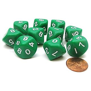 10 Piece Set of 10-Sided D10 Polyhedral Dice - Green with White Numbers