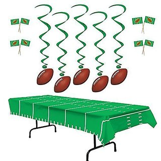 Football Party Decorations 5 Football Whirls Hanging Decorations, 50 Football Flag Picks And A Plastic Green Yardline Tablecover (Bundle Of 3)
