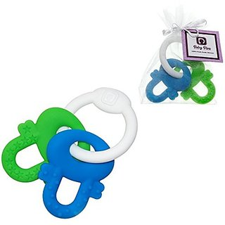 A Diva Difference Baby Teething Keys Teether Toys, Bpa-Free Silicone(Blue/Green)
