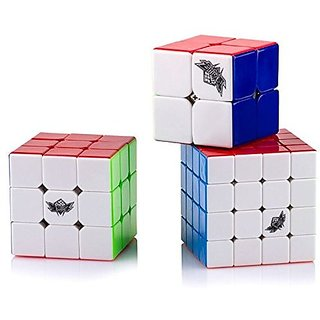D Fanti X Cyclone Boys Bundle Speed Cube 2x2 3x3 4x4 Stickerless Smooth Magic Cube Puzzles Toy Pack Of 3