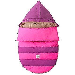 7 A.M. ENFANT Bee Pod Baby Bunting Bag for Strollers and Car-Seats with Removable Back Panel, Grape/Neon Pink, Small/Medium