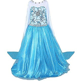 IWISHME Girls Deluxe Shimmer Ice Queen Costume Snow Princess Dress 4-9 Years