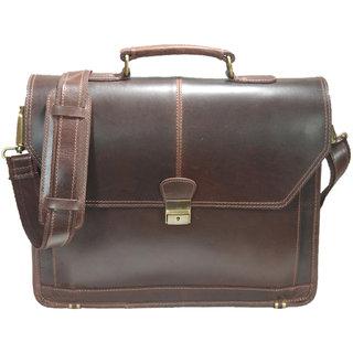 Brown Real Leather Messenger Bag Shoulder 14 laptop bag