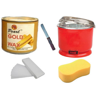 DDH Gold Wax + 90 Wax Strips Pack + Wax Auto Cut Heater + Sponge and Free Knife