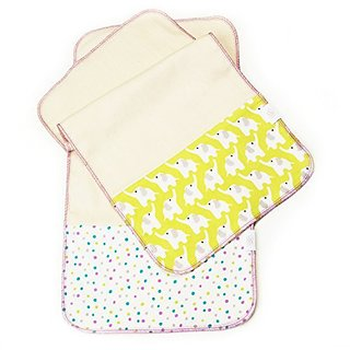 Logan + Lenora Organic Burp Cloths - Set of Two - Made in USA (Citron and Orchid Eli)
