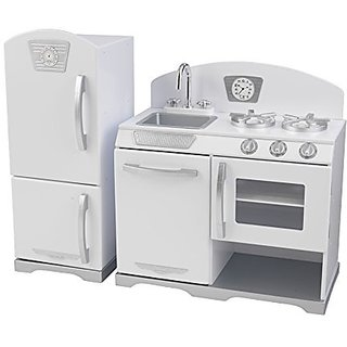 KidKraft Retro Kitchen and Refrigerator (2-Piece), White