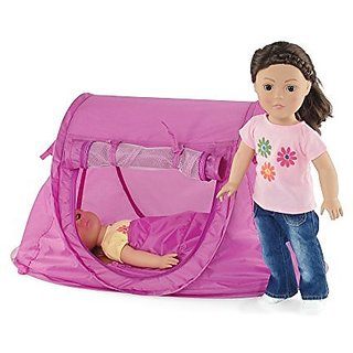 Fits American Girl Dolls Pop-up Camping Sleepover Tent with Matching Sleeping Bag | 18 Inch Doll Fur