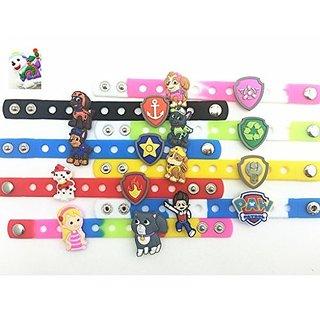 24pcs NEW (Puppy Power) Paw Patrol Ryder Katie Bone Shield Background Charms & Wristband Bracelet