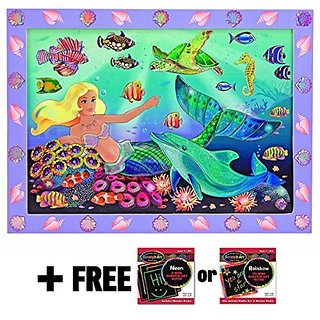Mermaid Reef: Peel & Press Sticker By Number Series + FREE Melissa & Doug Scratch Art Mini-Pad Bundl