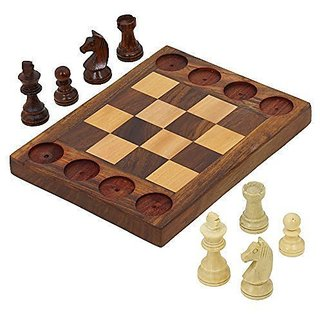 ShalinIndia Handmade Wooden Beginners Chess Set - Cross Between Chess and Tic Tac Toe