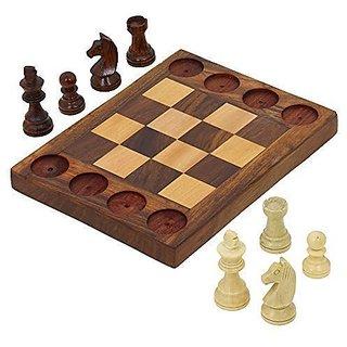 ShalinIndia Handmade Wooden Beginners Chess Set - Cross Between Chess and Tic Tac Toe