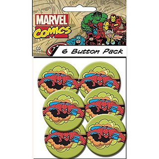 "C&D Visionary Marvel Comics (Retro) Spider Man Retro Clouds 1.5"" Button (6-Piece)"