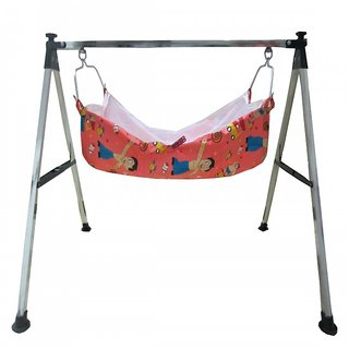 Smart Baby Products Steel Folding Baby Cradle with Chotta Bhim Printed Dark Pink Color Cotton Hammock