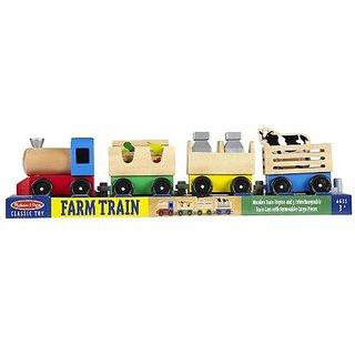 Wooden Farm Train Classic Toy + FREE Melissa & Doug Scratch Art Mini-Pad Bundle 45452