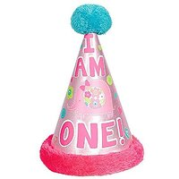 Amscan One Wild Girl 1st Birthday Cone Hat With Faux Fu