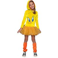 Looney Tunes Tweety Bird Girls Hooded Costume, Childs S