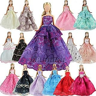 Play & Joy 5 Pcs Handmade Fashion Wedding Party Gown Dresses & Clothes For Barbie Doll Xmas Gift